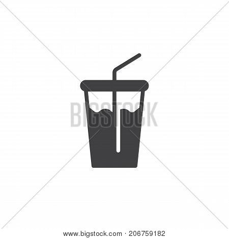 Soft drink glass icon vector, filled flat sign, solid pictogram isolated on white. Symbol, logo illustration.