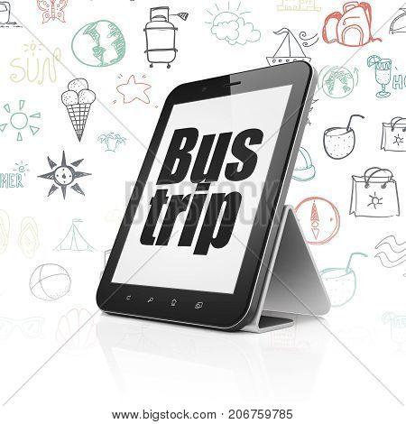 Travel concept: Tablet Computer with  black text Bus Trip on display,  Hand Drawn Vacation Icons background, 3D rendering