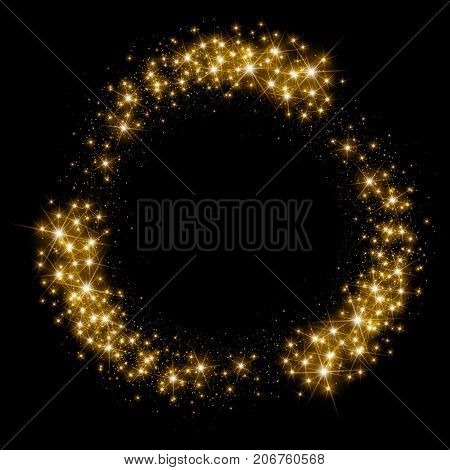 Illustartion of Gold glittering star dust circle