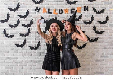 Girls Ready For Halloween Party