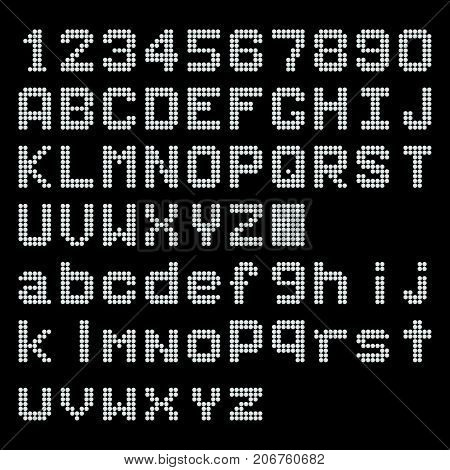 White LED digital english uppercase lowercase font number display on black background
