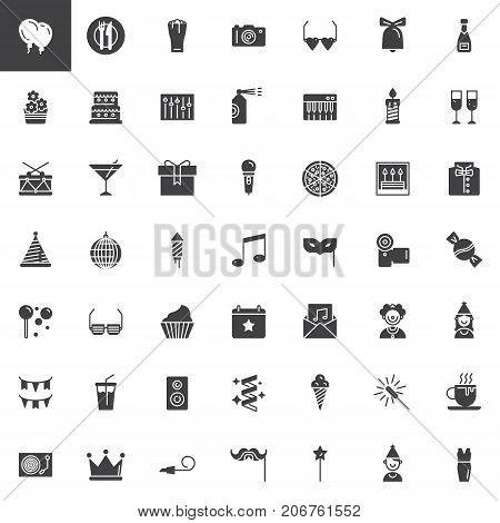 Party vector icons set, modern solid symbol collection, filled pictogram pack. Signs, logo illustration. Set includes icons as balloons, disco ball, fireworks, eye mask, clown, party blower