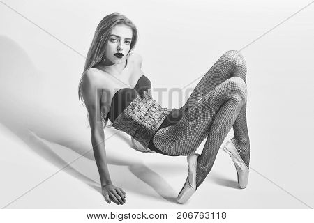 Girl Dancer In Pointe Shoes