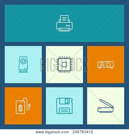 Collection Of Speaker, Scanner, Floppy And Other Elements.  Set Of 7 Laptop Outline Icons Set.