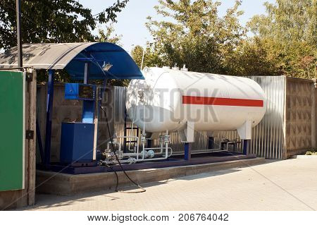 Liquid propane gas station. LPG station for filling liquefied gas into the vehicle tanks. Environmentally friendly fuel.