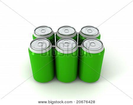 3D Illustration Of Six Green Aluminum Cans