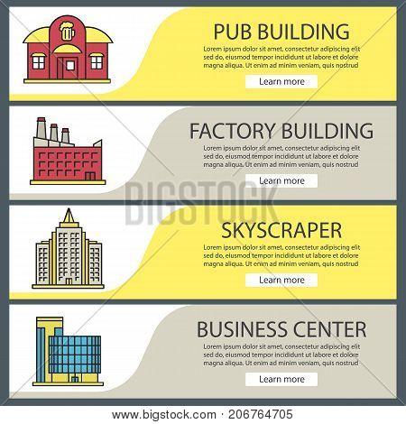 City buildings web banner templates set. Pub, skyscraper, factory, business center. Website color menu items. Vector headers design concepts