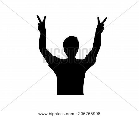 a man with victory sign silhouette, victory silhouette, illustration design, isolated on white background.