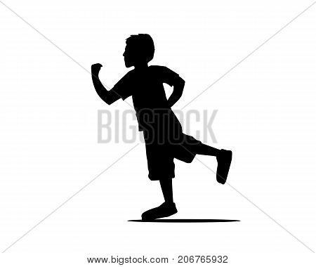 kid running silhouette, illustration design, isolated on white background.
