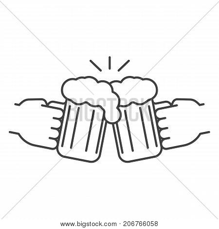 Cheers linear icon. Thin line illustration. Hands holding toasting beer glasses. Contour symbol. Vector isolated outline drawing