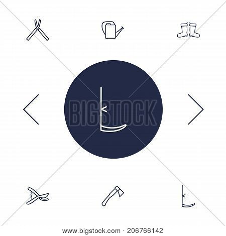 Collection Of Hatchet, Scythe, Secateurs And Other Elements.  Set Of 6 Horticulture Outline Icons Set.