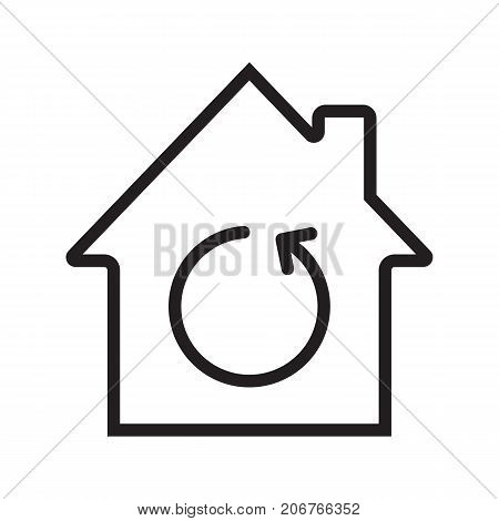 Home renovation linear icon. Thin line illustration. House with reload sign inside. Contour symbol. Vector isolated outline drawing poster