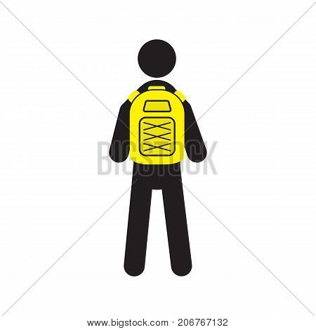 Man with backpack silhouette icon. Student, tourist, backpacker, pupil. Camping. Isolated vector illustration