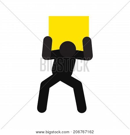 Man lifting heavy box silhouette icon. Delivery service. Shipment. Parcel. Isolated vector illustration. Deliveryman, courier