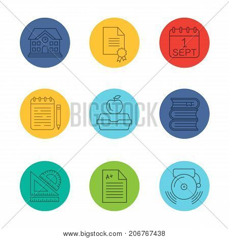 School and education linear icons set. Diploma, September 1st date, notepad, lunch box, books, rulers, school building, test paper. Thin line outline symbols on color circles. Vector illustrations