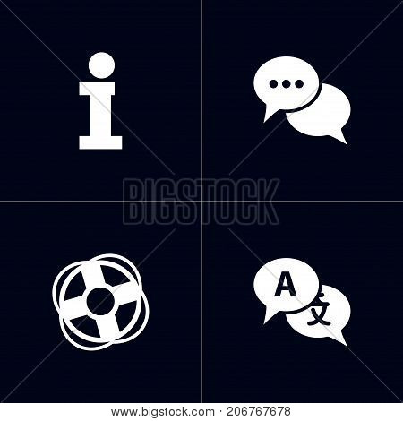 Collection Of Safe Ring, Talk, Info And Other Elements.  Set Of 4 Backing Icons Set.