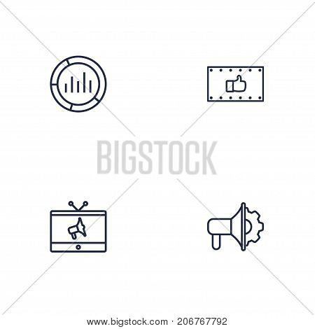 Collection Of Market, Tv, Advertising Agency And Other Elements.  Set Of 4 Advertising Outline Icons Set.