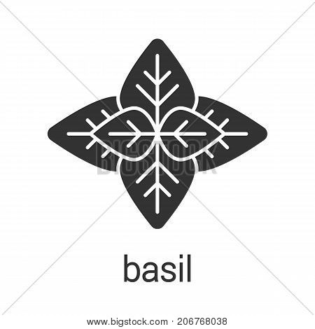 Basil glyph icon. Silhouette symbol. Flavoring, seasoning. Negative space. Vector isolated illustration