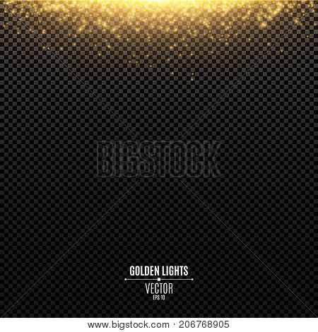 Abstract golden lights fall on a transparent background. Magical gold dust and glare. Festive Christmas background. Golden backlight. Vector illustration