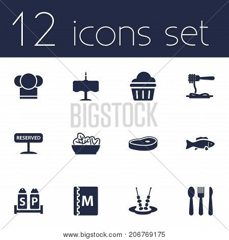 Collection Of Condiments, Muffin, Silverware And Other Elements.  Set Of 12 Cafe Icons Set.