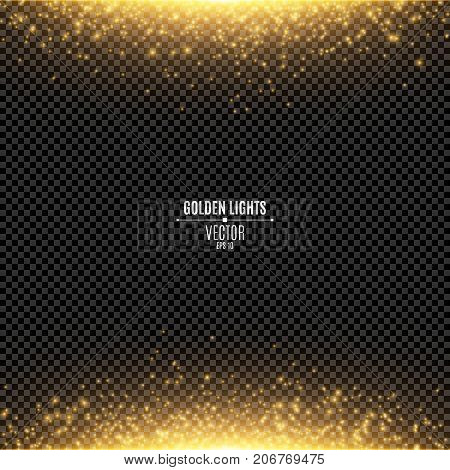 Abstract golden lights fall on a transparent background. Magical gold dust and glare. Festive background. Golden backlight. Vector illustration