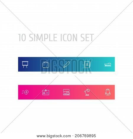 Collection Of Marker, Table Lamp, Email And Other Elements.  Set Of 10 Bureau Outline Icons Set.