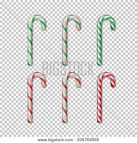Vector Christmass element. Candy cane set isolated on transparent background.