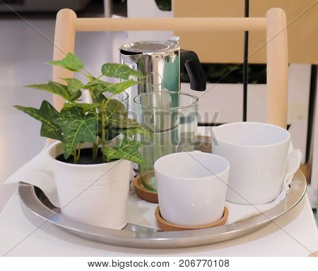 Cuisine and Food Two White Porcelain Cups Glass and Coffee Pot on The Table Used for Preparing and Drinking Coffee in The Morning.