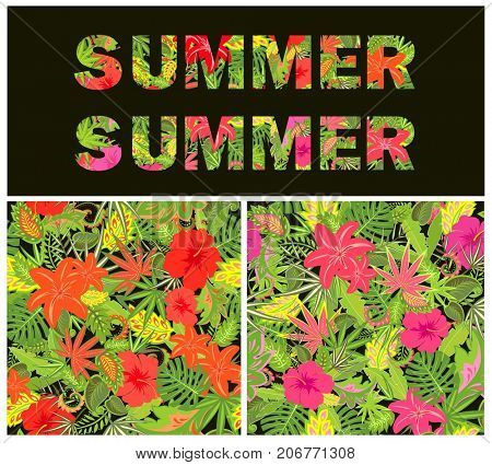 T-shirt floral print with summer lettering isolated on black background and floral tropical wallpapers. Variation for fashion design