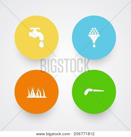 Collection Of Filter, Hacksaw, Grass And Other Elements.  Set Of 4 Household Icons Set.