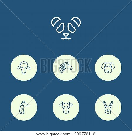 Collection Of Sheep, Feline Bear, Rabbit And Other Elements.  Set Of 7 Zoology Outline Icons Set.