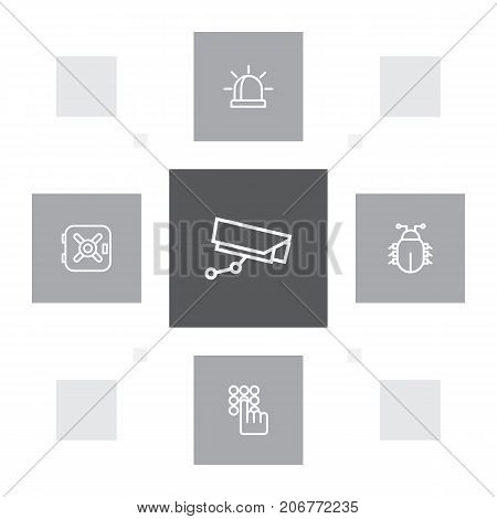 Collection Of Supervision, Keypad, Alarm And Other Elements.  Set Of 5 Procuring Outline Icons Set.