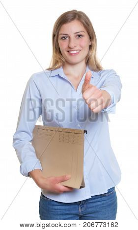 Blonde businesswoman with file showing thumb up on an isolated white background for cut out