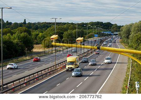 Birmingham, UK - August 27 2017: Traffic on British motorway M5 near West Bromwich