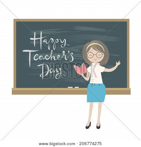 Teachers day greeting card. A teacher standing at a chalkboard isolated vector illustration