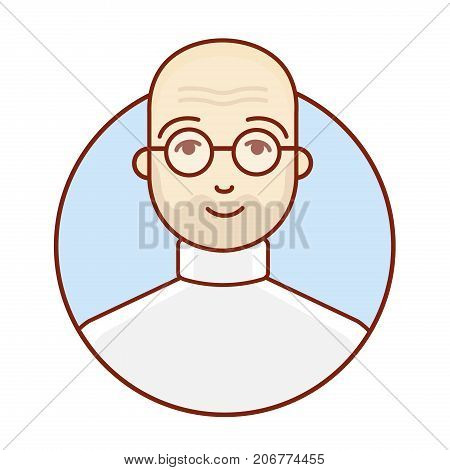 Avatar of a bald man. Average age. The face of a businessman. Creative person. Portrait. Vector linear illustration