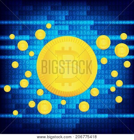 Crypto currency golden coin . Abstract virtual money background .Digital matrix of deducting money . Use for logos, print products or other design.