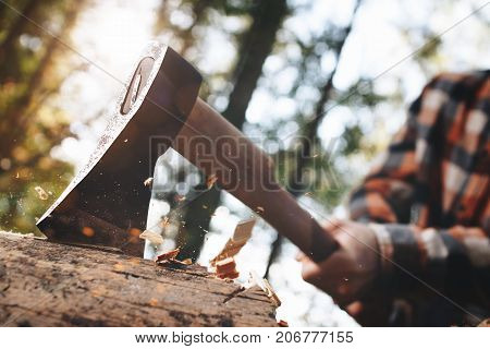 Strong Lumberjack In Plaid Shirt Chops Tree In Wood With Sharp Ax, Close Up Axe, Wood Chips Fly. Hor