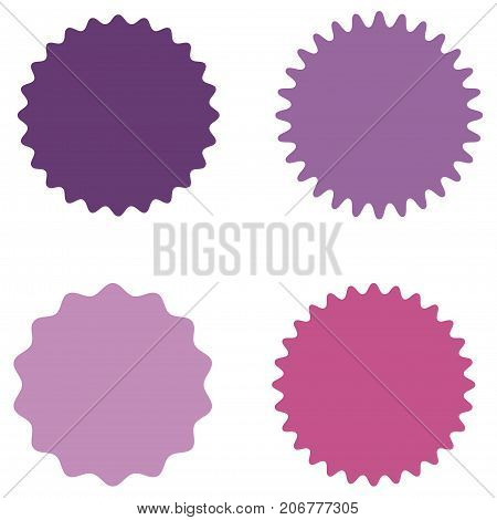 Set of starburst, sunburst badges, labels, stickers. Purple, lilac, pink color. Simple flat style. Vintage, retro. Design elements. A collection of different types icon. Vector illustration