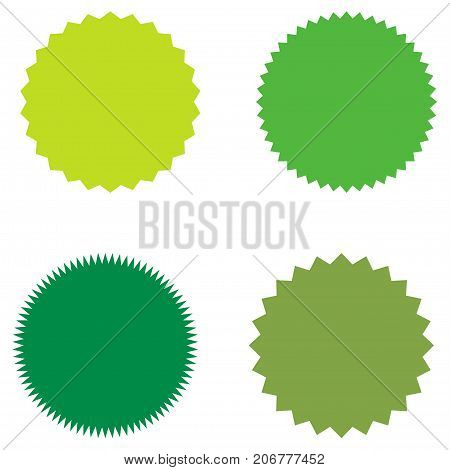 Set of starburst, sunburst badges, labels, stickers. Green color. Simple flat style. Vintage, retro. Design elements. A collection of different types icon. Vector illustration