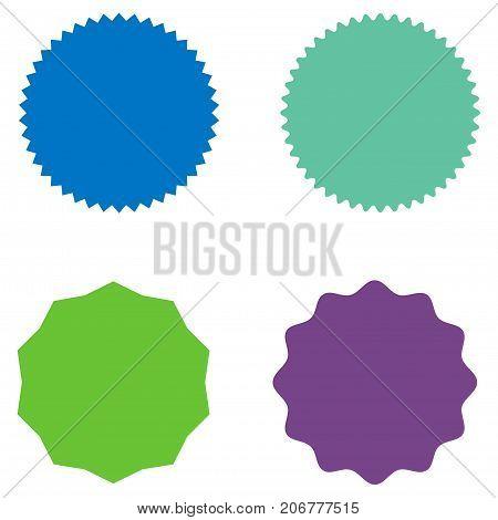 Set of starburst, sunburst badges, labels, stickers. Blue, green, purple color. Simple flat style. Vintage, retro. Design elements. A collection of different types icon. Vector illustration