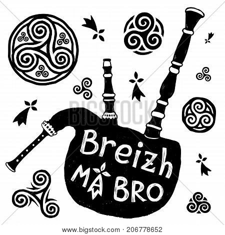 Vector Celtic symbols and biniou breton bigpipe silhouette with sign Breizh Ma Bro - Brittany My Country