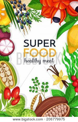 Poster template design with superfood fruits and beries for detox product menu design. Vector llustration.