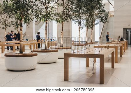 LONDON, UK - SEPTEMBER 24, 2017: Interior of The Apple Store on Regent Street, London that recently had a refurbishment. Regent Street was Apple's first store in Europe.