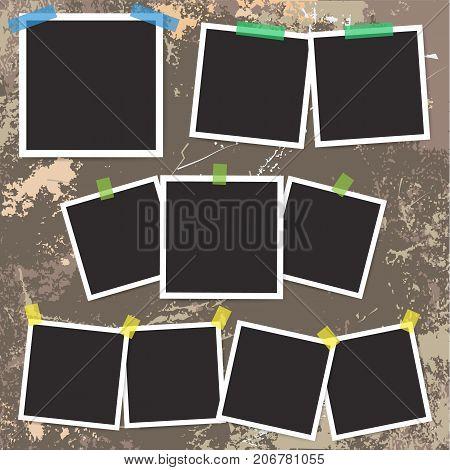 Set of vintage photo frame with adhesive tape on grunge background. Vector Illustration
