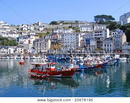 Ships in the seaport of Luarca, Spain