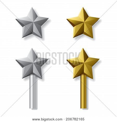 Gold and silver stars isolated on white background. Vector templates