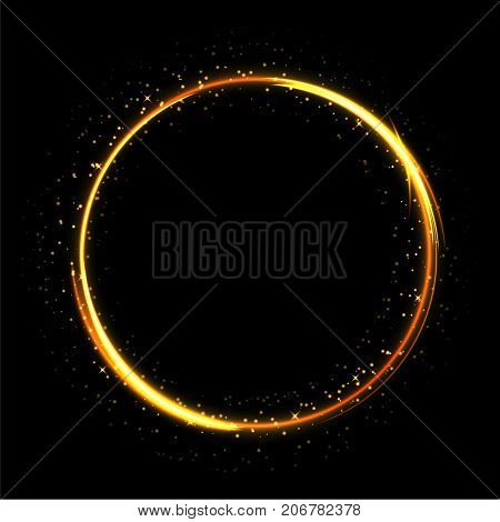 Fire ring glowing trace. Vector fire gold circle. Light sparkling circle on black background.