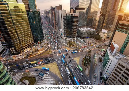 Traffic speeds through an intersection in Gangnam Seoul in South Korea.