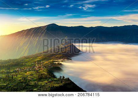 Cemoro Lawang Village At Morning In Bromo Tengger Semeru National Park, East Java, Indonesia.